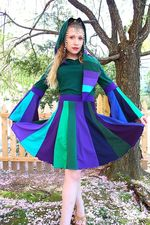 Siberian Summer Upcycled T-Shirt Dress with Medieval Liripipe Hood by SnugglePants teal purple jewel tones