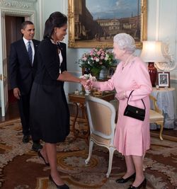 Michelle Obama greets Queen Elizabeth II
