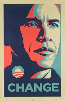 Shepard Fairey Obama Change poster Bonhams auction
