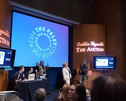 Debbie Reynolds Joseph Maddalena introduce Hollywood memorabilia auction Paley Center Beverly Hills June 2011