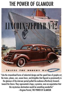 Lincoln-Zephyr Travel the Modern Way streamlining future glamour